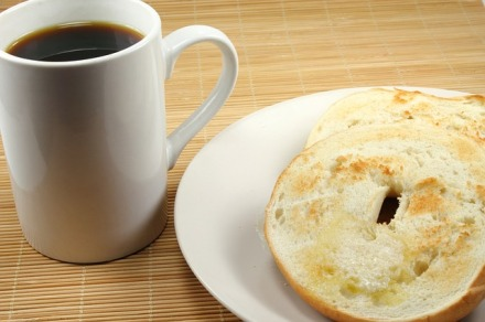 Coffee with bagel
